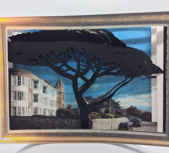 Irena Boobyer 3D Papercut / shadowbox - The Corner of Carlton Hill, Exmouth, iconic tree silhouette. 3D papercut demonstration in Blog post