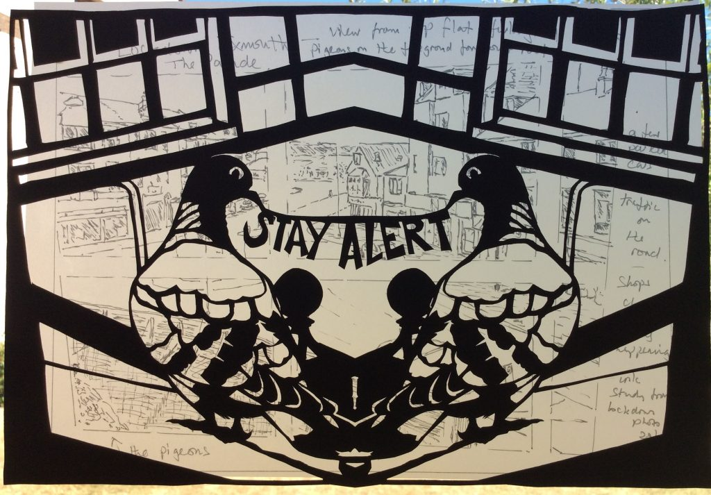 Papercut Pigeon overlooking Exmouth in coronavirus lockdown
