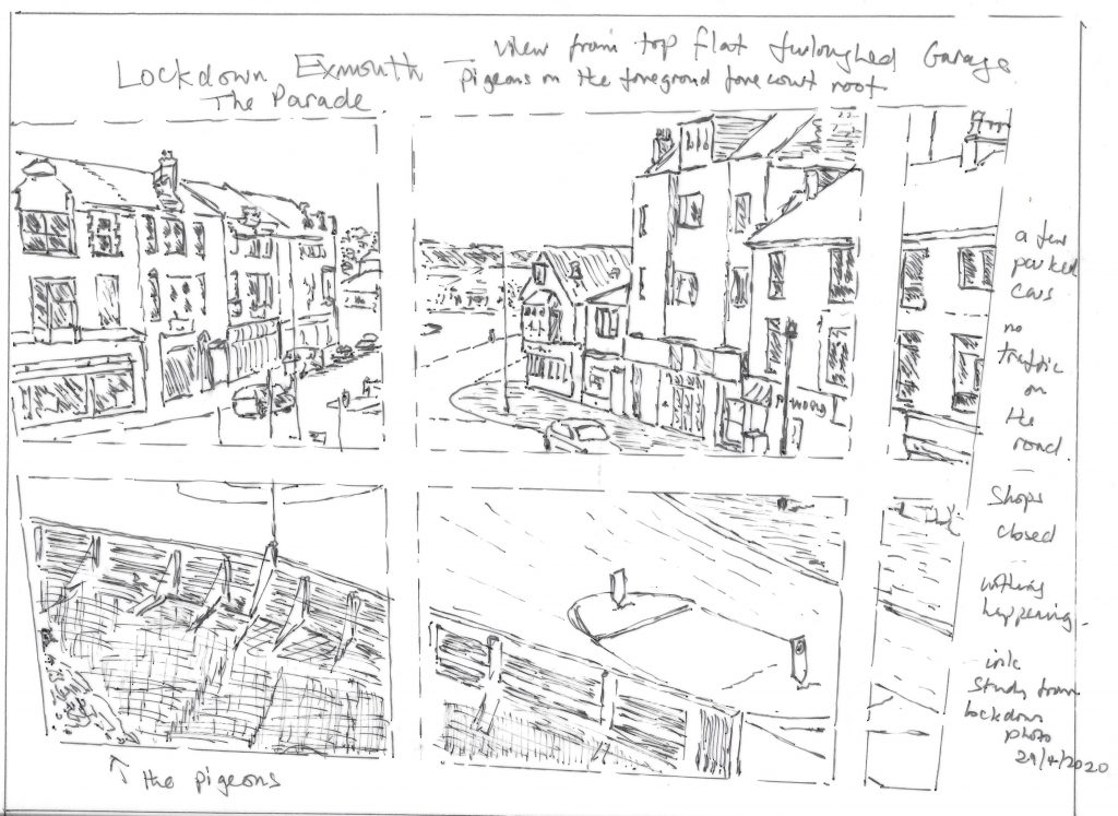 Ink study of view of Parade fromtop flat Arcadia Garage Stay AlertExmouth